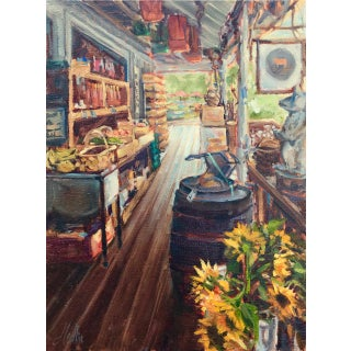 """Cashiers Farmers Market"" Contemporary Interior Still Life Oil Painting by Tammy Medlin For Sale"