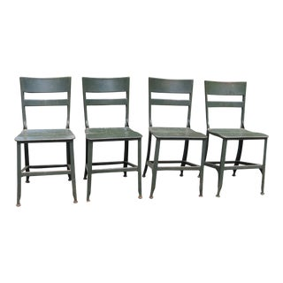 Vintage Mid Century Metal Toledo Chairs- Set of 4 For Sale