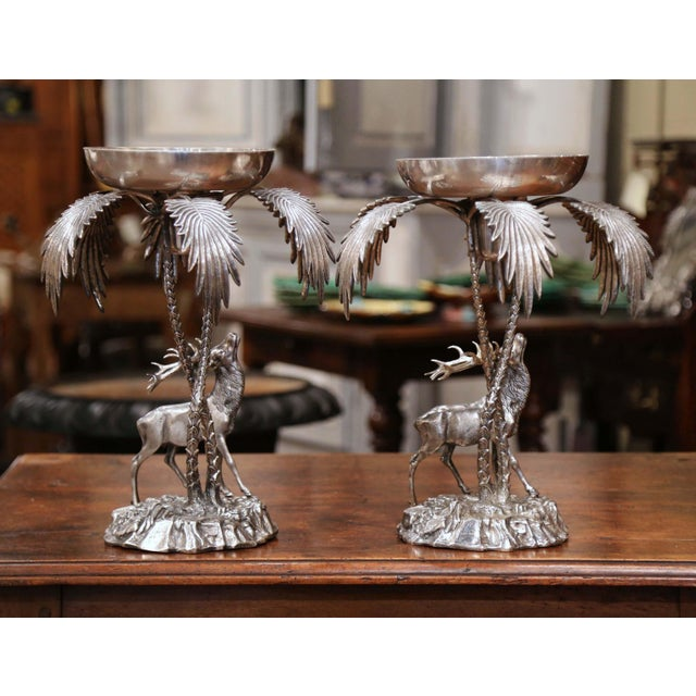 Bronze Pair of Early 20th Century Silvered Bronze Centerpieces With Deer Sculpture For Sale - Image 7 of 12