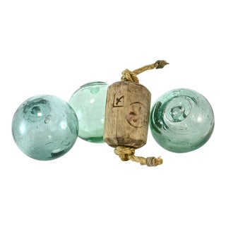 Antique Kanji & Aqua Blown Glass Floats - Set of 4 For Sale
