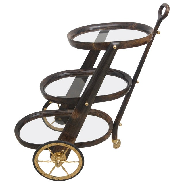 Mid-Century Modern Goat Skin Bar Cart by Aldo Tura For Sale