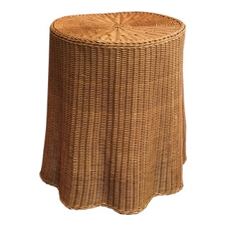 1970s Boho Chic Trompe l'Oeil Draped Wicker Rattan Ghost Table For Sale