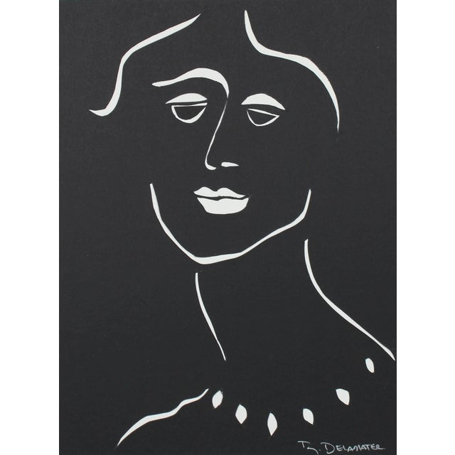 """Rob Delamater """"The Moderns Vii"""" Monochromatic Portrait in Cut Paper, 2018 2018 For Sale"""