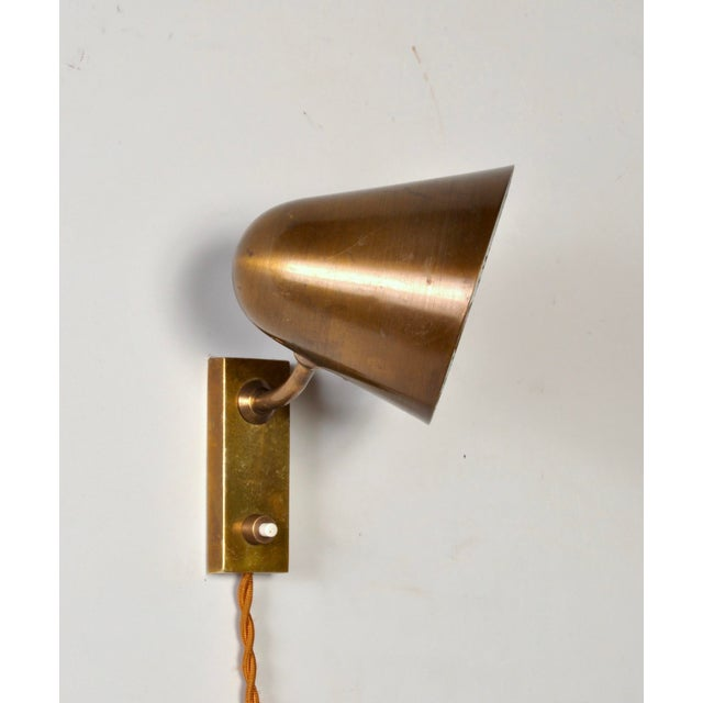 Jacques Biny Brass Wall Lamp by Jacques Biny France 1950s For Sale - Image 4 of 5