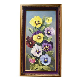 Midcentury Colorful Pansies Floral Oil Painting by Gloria K. Williams For Sale