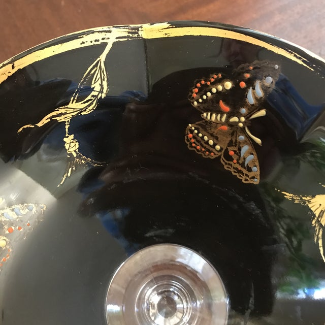 Glass Vintage Glass Butterfly Decor Bowl For Sale - Image 7 of 11