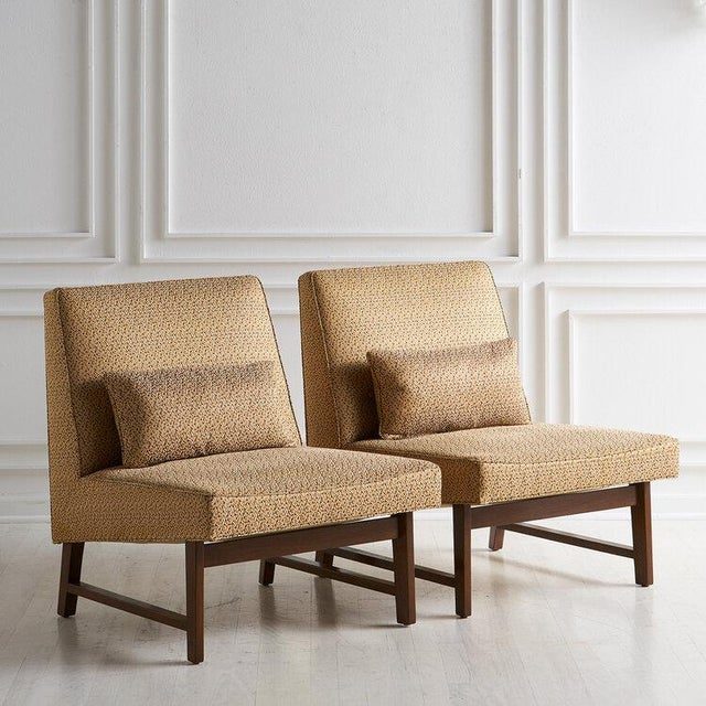 Mid-Century Modern Edward Wormley for Dunbar Mahogany Slipper Chairs For Sale - Image 3 of 12