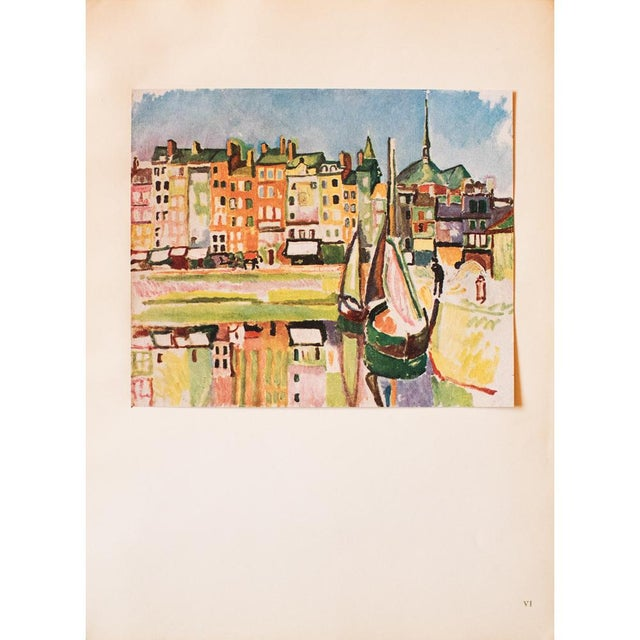 """Lithograph 1948 Raoul Dufy, Original Period Parisian Lithograph """"Le Port D'Honfleur"""" For Sale - Image 7 of 8"""