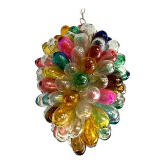 Bright Colors of Light Fixture of Recycled Hand Blown Glass For Sale