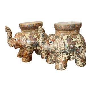 Chinese Garden Seats Satsuma Style Elephant Stools - a Pair For Sale