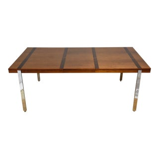 Rosewood, Walnut, Chrome Dining Table by Lane For Sale