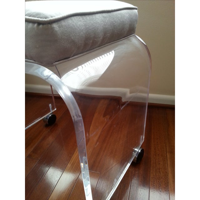 Mid Century Lucite Waterfall Vanity Stool - Image 9 of 11