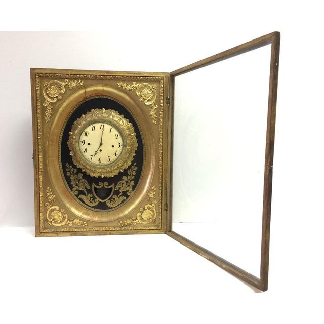 French 19th Century French Gilt Wall Clock in Shadow Box For Sale - Image 3 of 13