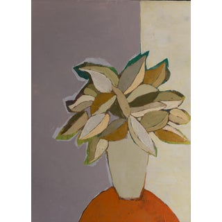 """Bill Tansey """"Orange Linen"""" Abstract Floral Oil on Canvas Painting For Sale"""