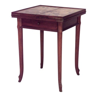 French Art Nouveau Walnut Folding Top Square Game Table For Sale
