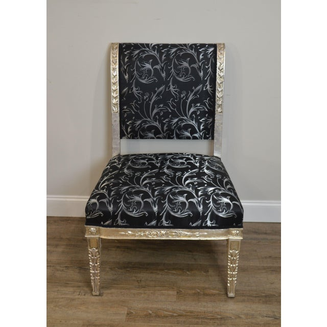 Traditional Silver Leaf French Regency Style Slipper Chair For Sale - Image 3 of 12