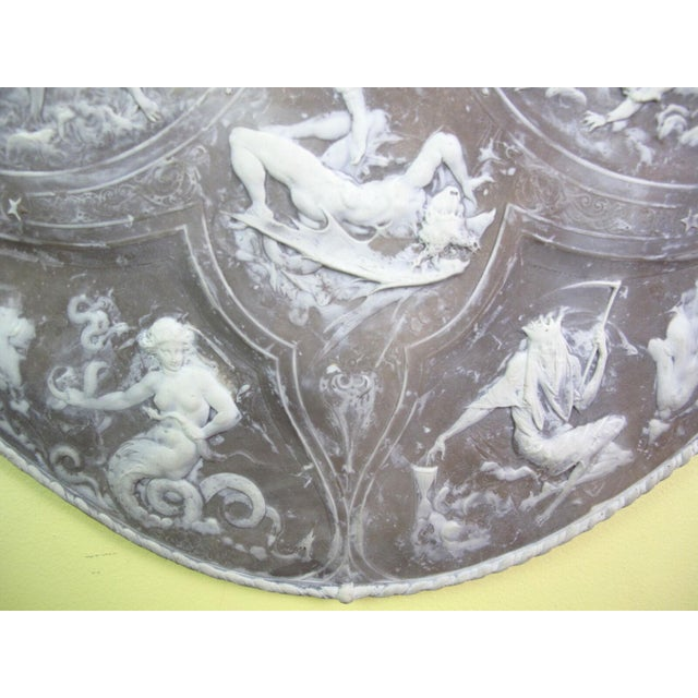 Milton Cameo Shield Poem Paradise Lost War in Heaven Scene Agate Wall Hanging For Sale - Image 4 of 10
