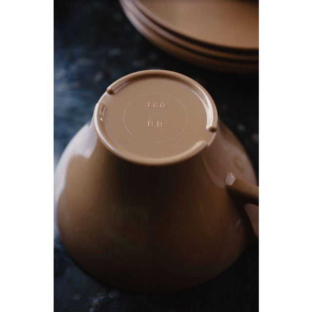 Brown Melamine Cups and Saucers - Set of 4 For Sale - Image 4 of 8