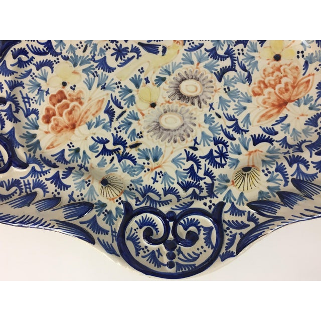 American Classical 19th Century Rouen French Traditional Hand-Painted Serving Platter For Sale - Image 3 of 8