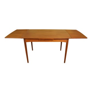 Mid-Century Teak Draw-Leaf Dining Table For Sale
