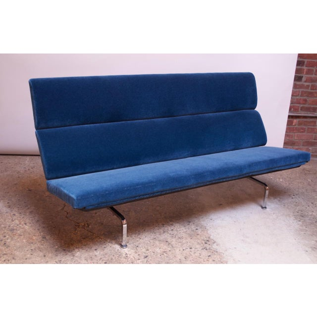 Charles and Ray Eames for Herman Miller Chromed-Steel and Mohair Compact Sofa For Sale - Image 13 of 13