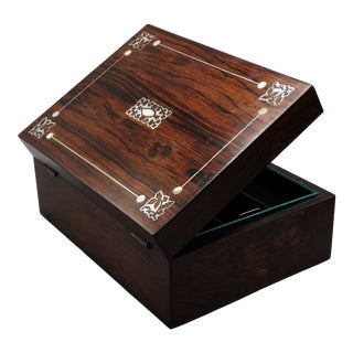 Antique French Rosewood Jewelry Box, Lock & Key For Sale