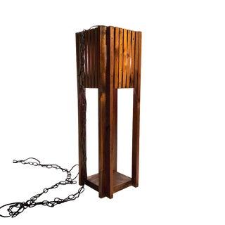 1970s Mid Century Hanging Wood Slat Swag Pendant Lamp For Sale