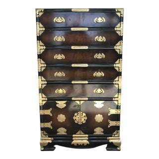 Small Campaign Style Wood & Brass Dresser