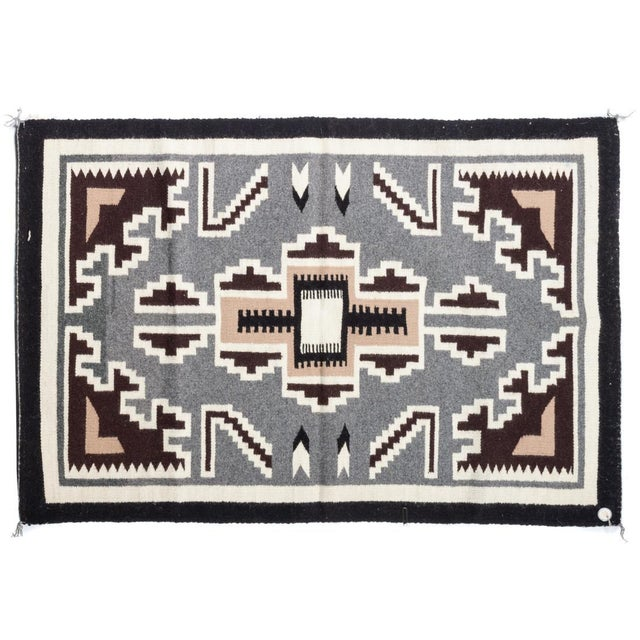 Vintage Navajo Two Grey Hills Rug-2'4'x3'9 For Sale - Image 12 of 12