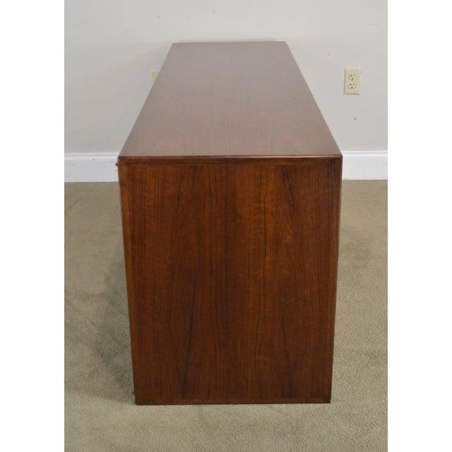 Wood Mid Century Modern Walnut Low 4 Door Credenza Cabinet For Sale - Image 7 of 13