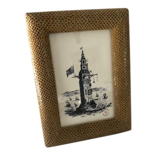 Mustard Leather Picture Frame For Sale