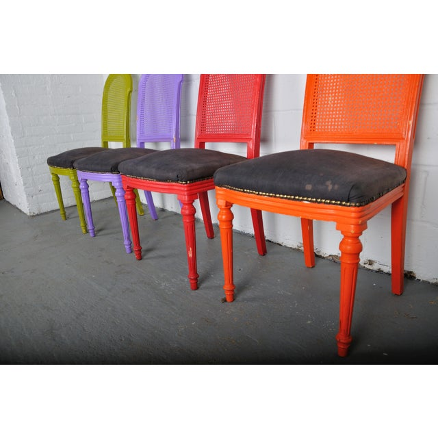 1970's Vintage French Multicolor Dining Chairs With Cane Back - Set of 4 For Sale - Image 10 of 13