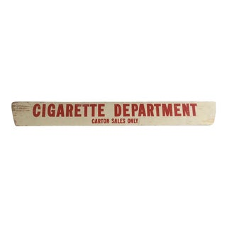 1960s Vintage Americana Modern Farmhouse Gallery Wall Hand-Painted Wood Folk Art Double Sided Cigarette Advertising Sign For Sale