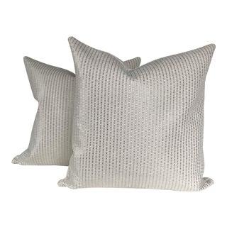 Custom Made Metallic Silver & White Pillows - a Pair For Sale