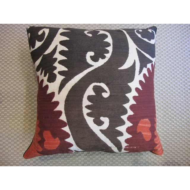 Vintage Suzani Hand Embroidered Pillow For Sale - Image 4 of 4
