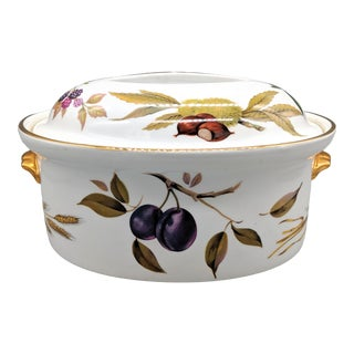 "1960's English Royal Worcester ""Evesham Gold"" Porcelain Casserole/ Vegetable Dish For Sale"