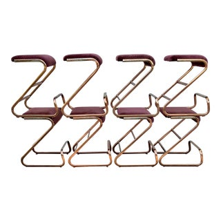 Late 20th Century Cantilevered Stools - Set of 4 For Sale