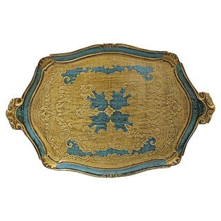 Mid-Century Florentine Decorative Tray For Sale