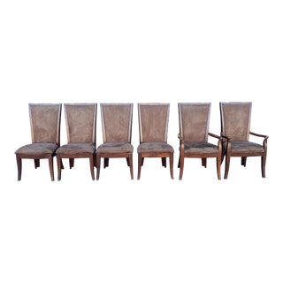 Set 6 Mahogany Finished Tall Back Dining Room Chairs From Ashley Furniture For Sale