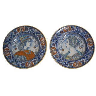 Pair of Vintage Hand Painted Italian Wall Plates- Firenze For Sale