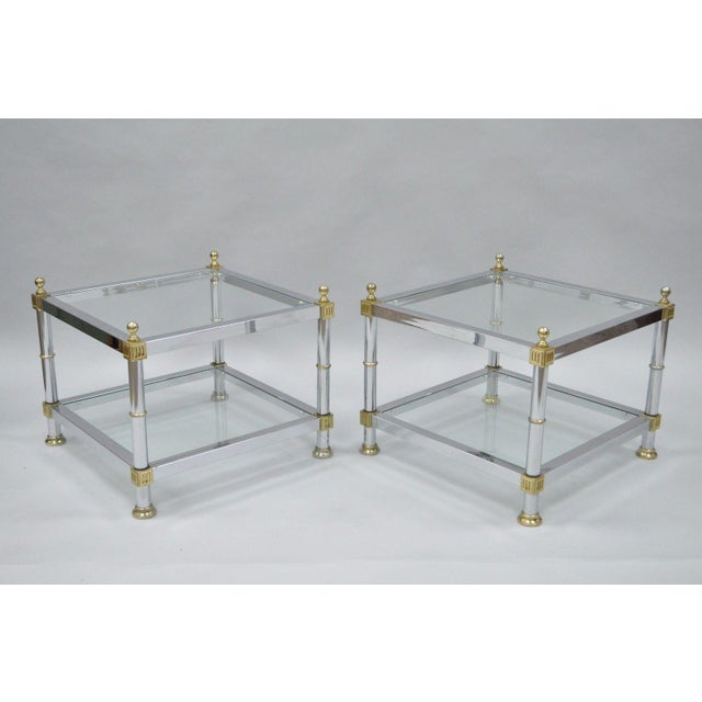 Pair Of Vintage Hollywood Regency Chrome Brass Glass Square End