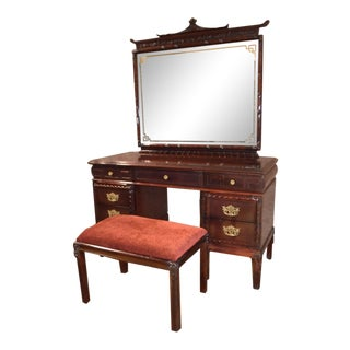 1950s Vintage Asian Inspired Mahogany Vanity Desk & Bench - 2 Pieces For Sale