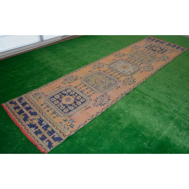 "Distressed Oushak Rug Runner - 2'11"" x 11'1"" - Image 3 of 8"