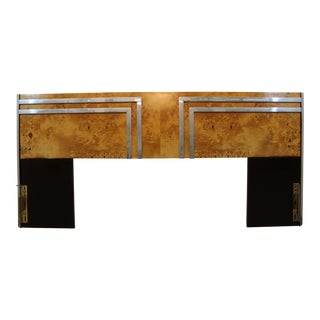 Milo Baughman Style Mid-Century Burlwood & Chrome Headboard For Sale