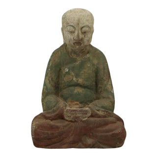 Hand Carved Wood Monk Figurine For Sale