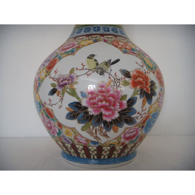 """Large Oriental Gold/Floral Hand Painted Vase H22"""" - Image 3 of 6"""