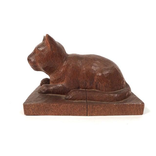 Brown Folk Art Hand Carved Wood Cat Sculpture For Sale - Image 8 of 12