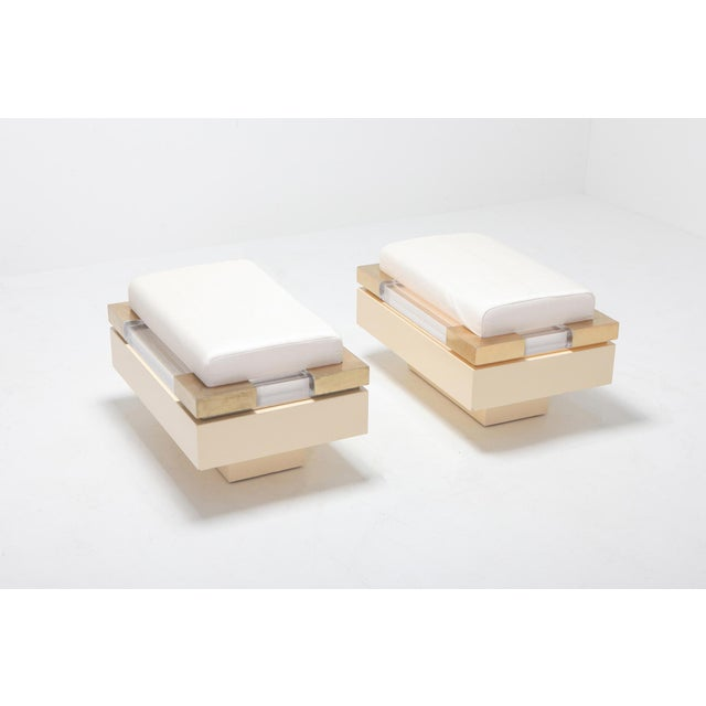 Charles Hollis Jones Postmodern Chic Pair of Ottoman in Cream Lacquer, Brass and Lucite For Sale - Image 4 of 8