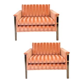 1970s Milo Baughman Chrome and Mohair Club Lounge Chairs – a Pair For Sale