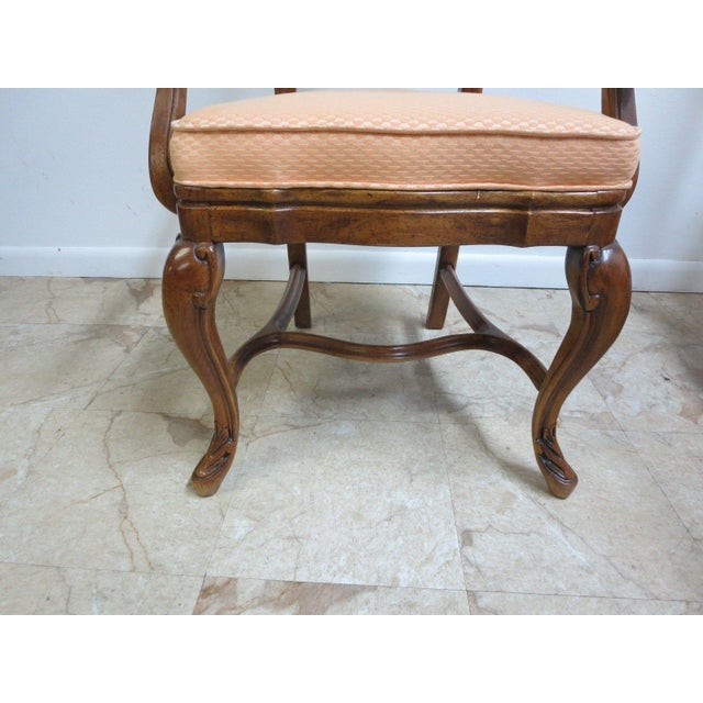 Drexel Heritage Old World Country French Carved Dining Arm Chairs